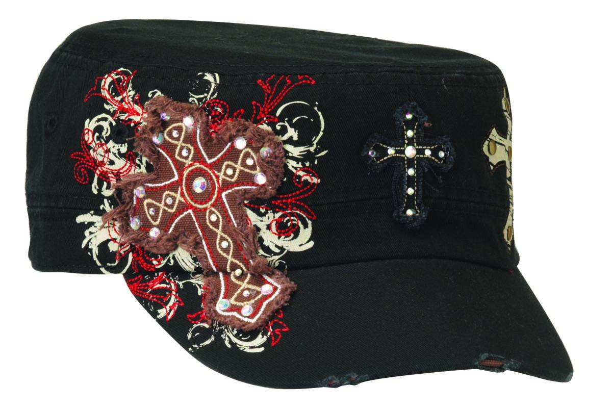 Blazin Roxx Ladies Triple Bling Cross Military Cap