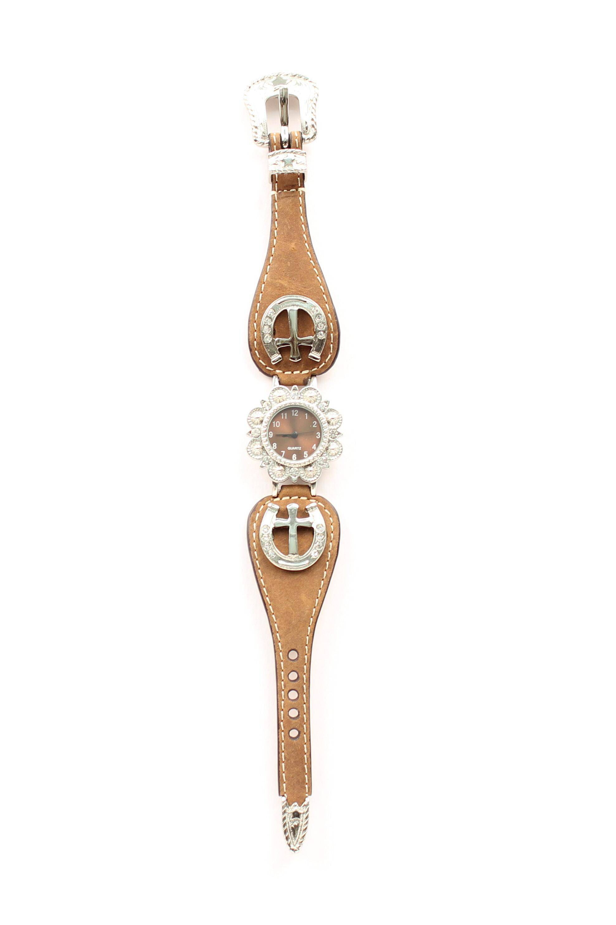 Blazin Roxx Womens Scallop Horseshoe Cross Watch