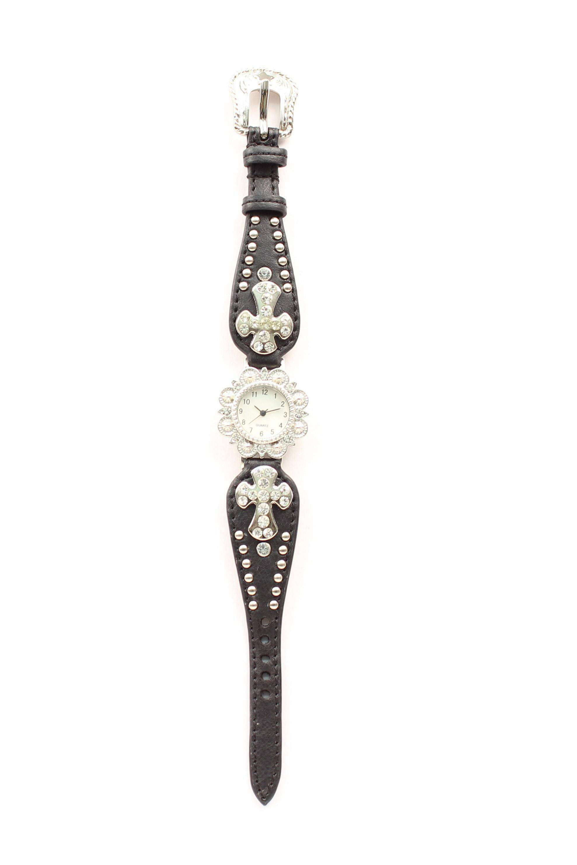 Blazin Roxx Womens Scallop Rhinestone Cross Watch
