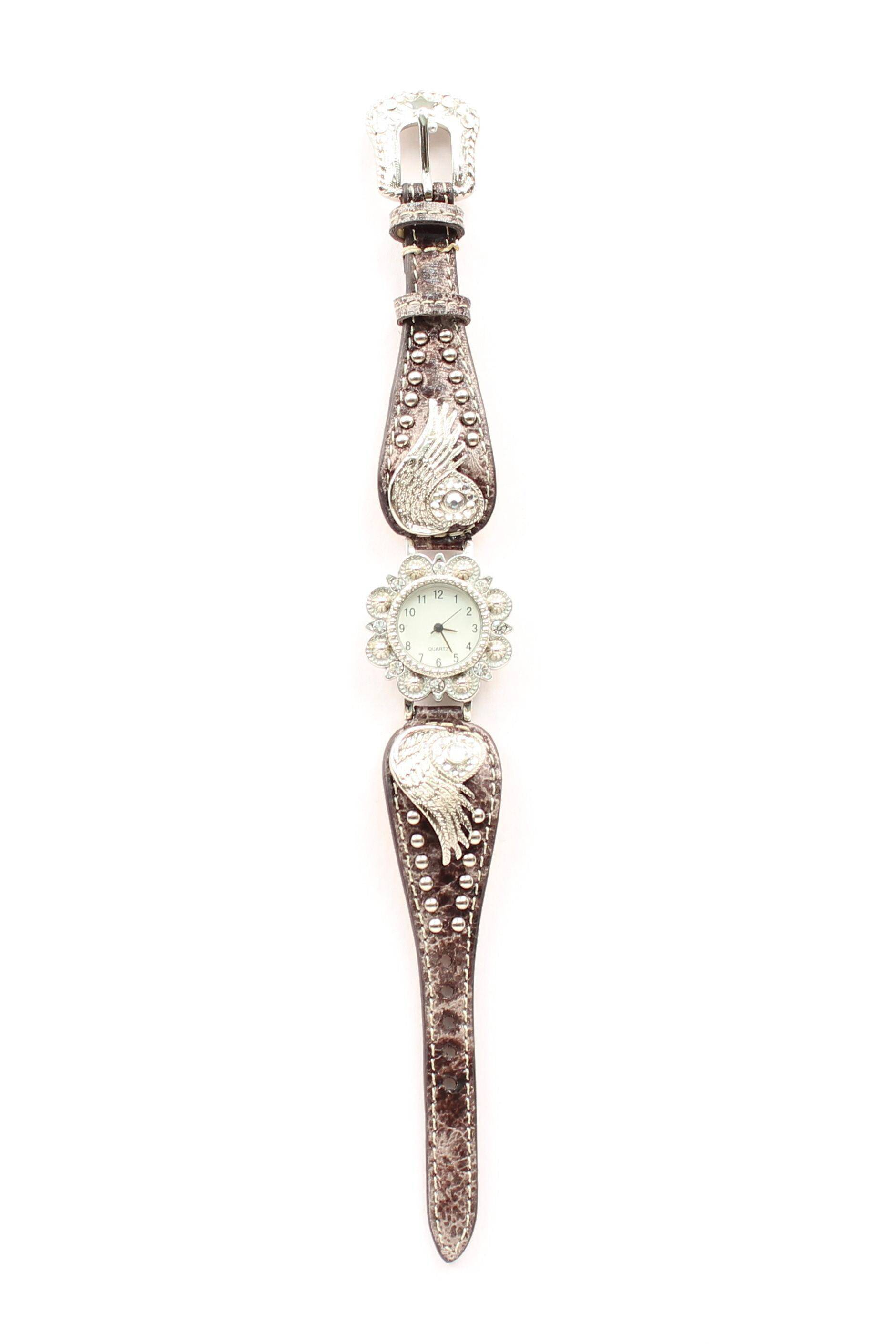 Blazin Roxx Womens Scallop Heart/Wing Watch