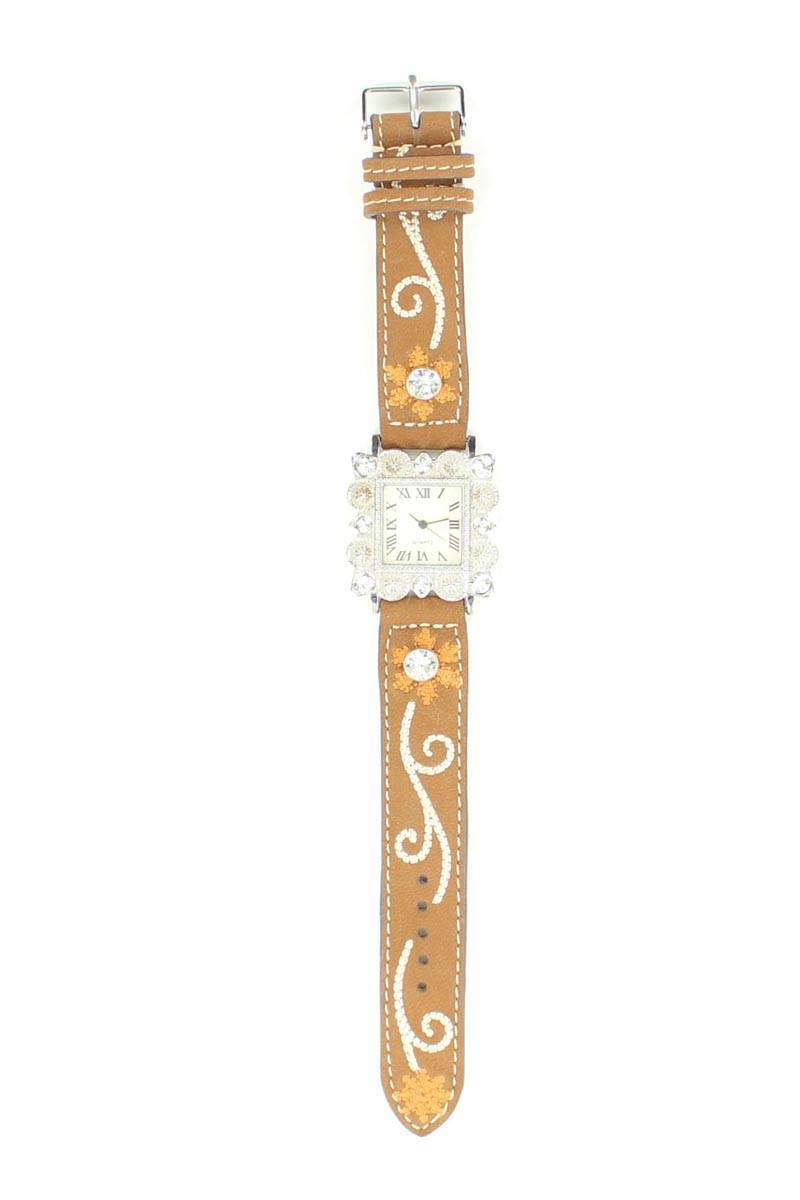 Blazin Roxx Women's Square Crystal/Floral Watch