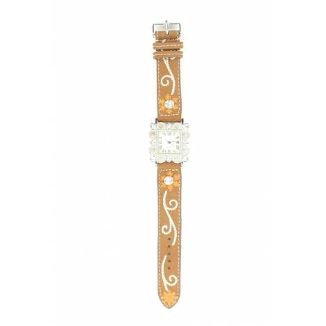 Blazin Roxx Womens Square Crystal/Floral Watch