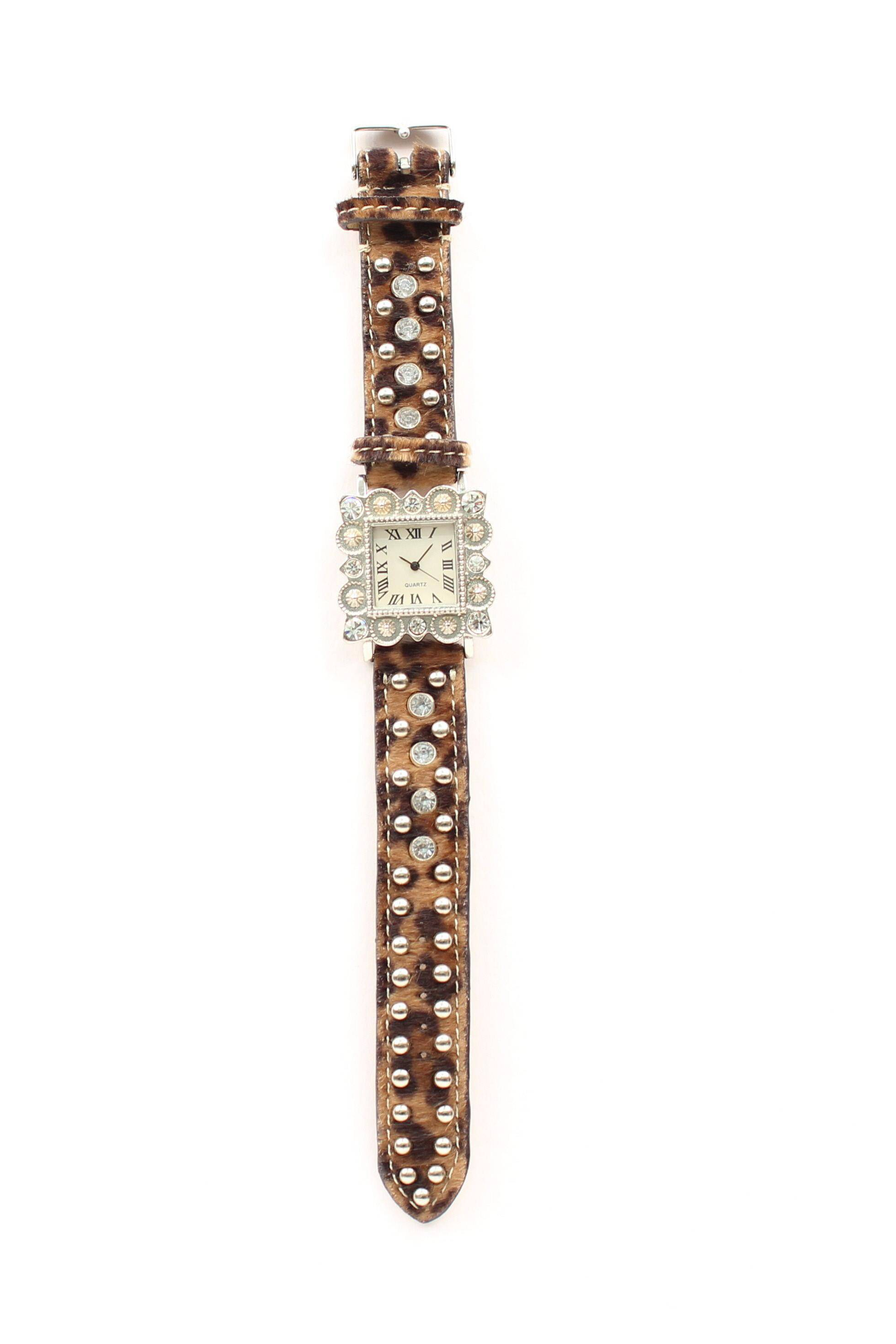 Blazin Roxx Women's Square Rhinestone/Leopard Horse Hair Watch