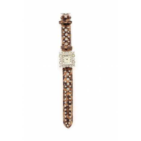 Blazin Roxx Womens Square Rhinestone/Leopard Horse Hair Watch