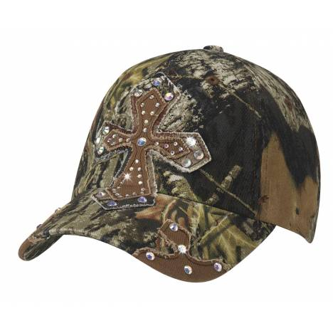 Blazin Roxx Ladies Crystal Cross Camo Cap