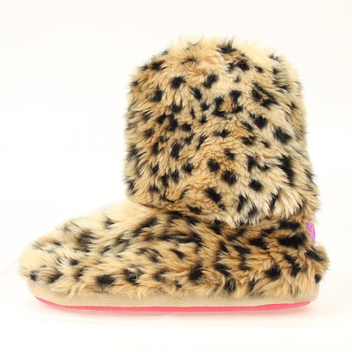 Blazin Roxx Ladies Leopard Fur Boot Slipper