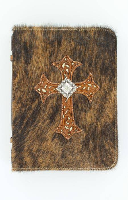 M&F Western Hair/Cross Overlay Bible Cover