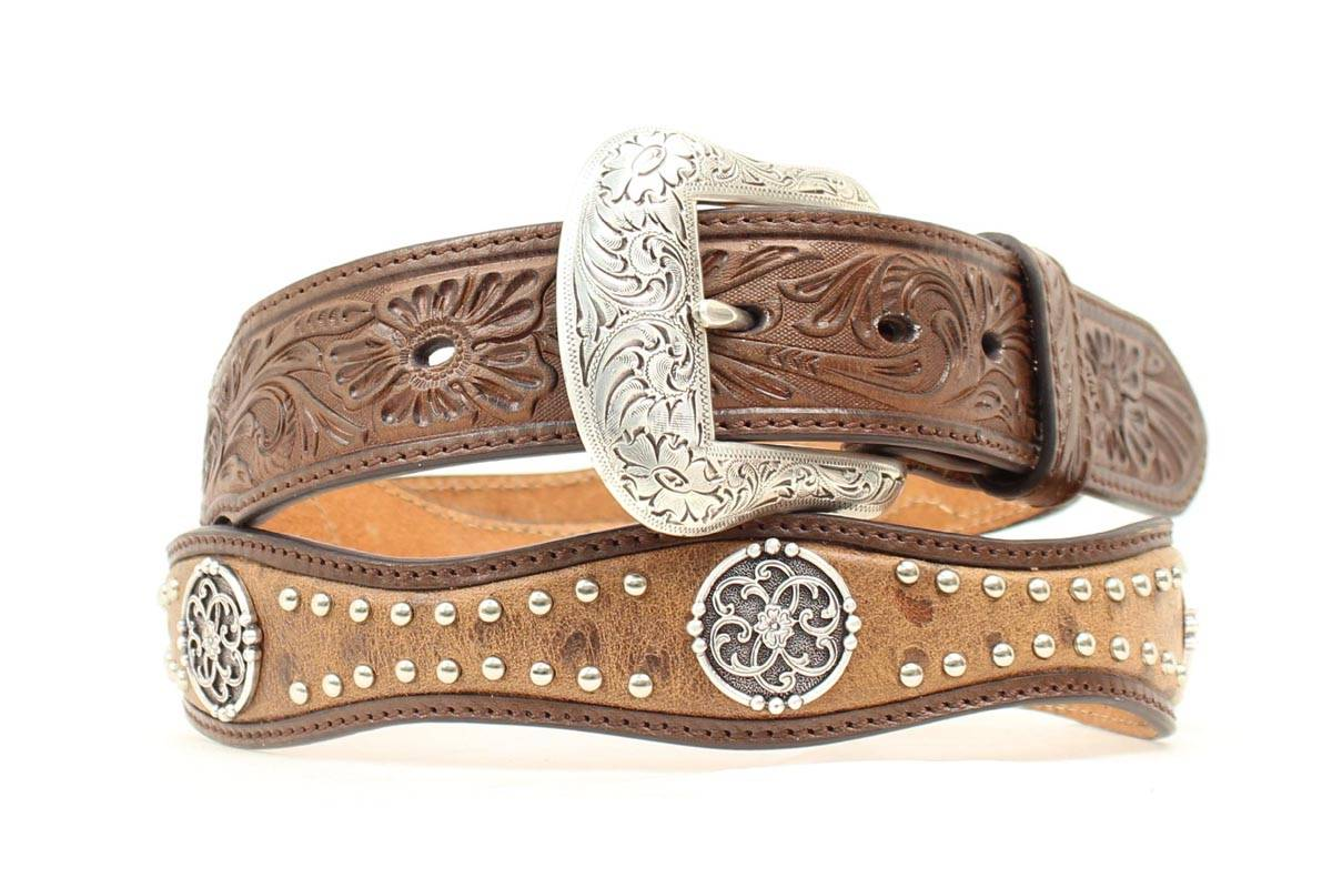 Nocona Men's Scallop Filigree Stud Concho Belt