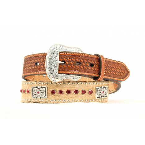 Nocona Calf Hair Square Crystal Concho Belt