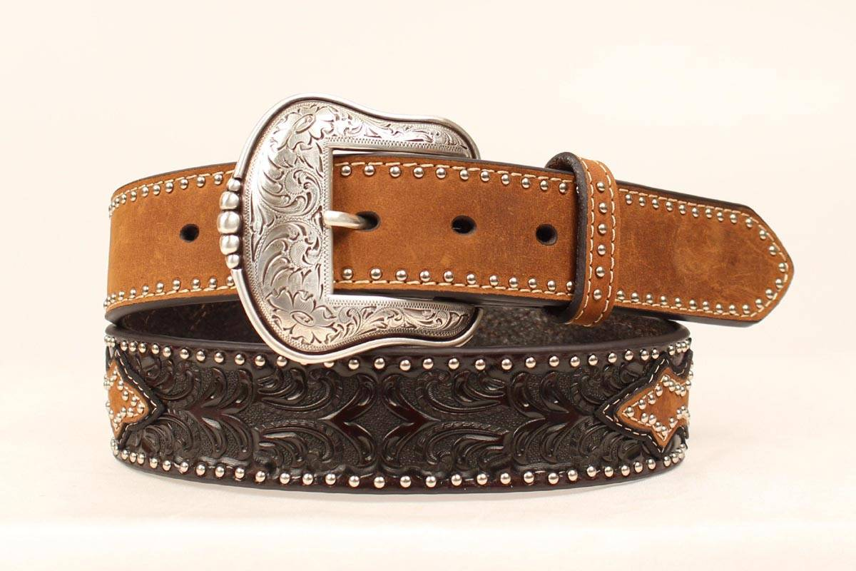Nocona Men's Tooled Overlay Oval Concho Belt