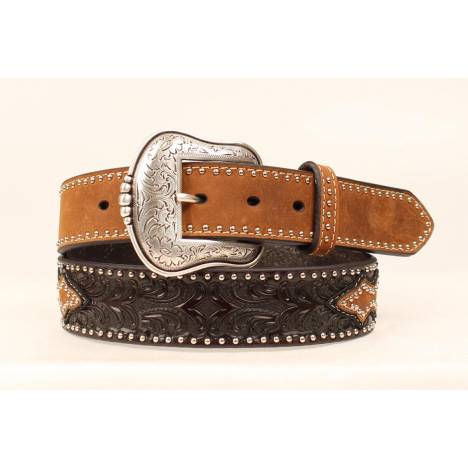 Nocona Mens Tooled Overlay Oval Concho Belt