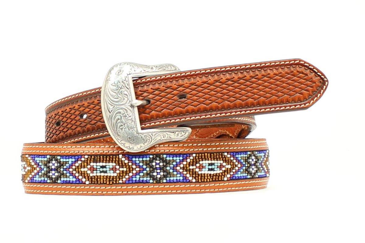 Nocona Mens Diamond Tabs Beaded Belt