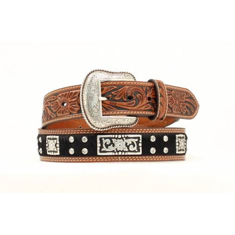 Nocona Calf Hair Rectangle Crystal Tooled Belt