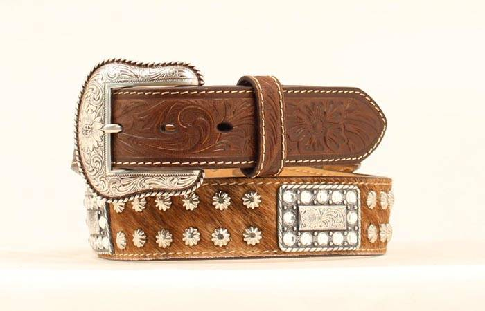 Nocona Calf Hair Rectangle Crystal Concho Belt
