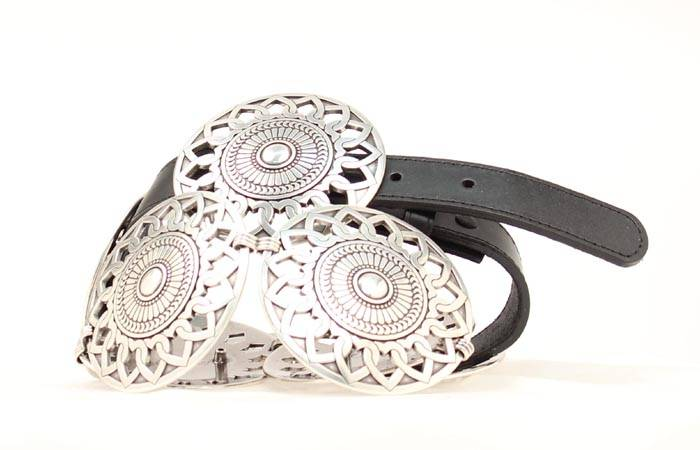 Nocona Round Double Heart Concho Belt