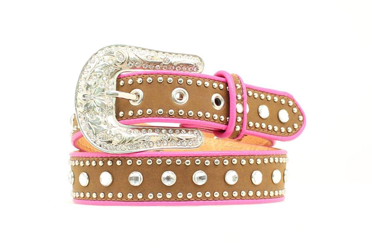 Nocona Girls Crystal Studded Piping Belt
