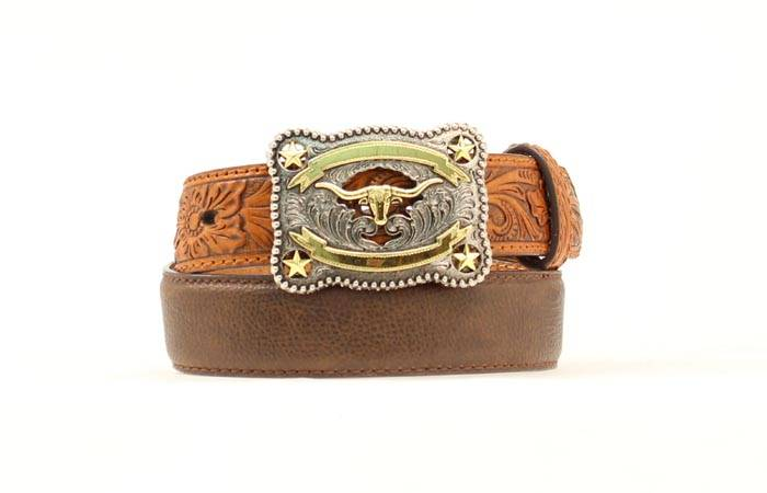 Nocona Boys Tooled Leather Longhorn Belt