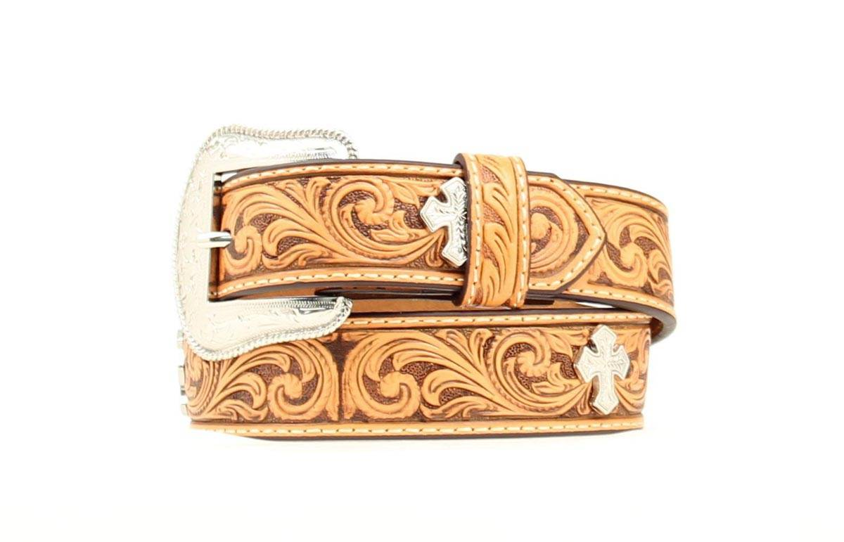 Nocona Boys Tooled Leather Cross Concho Belt