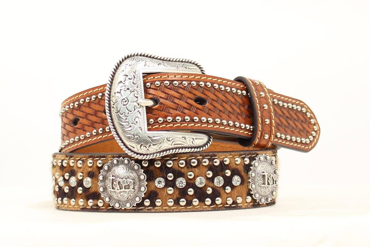 Nocona Boys Baskeweave Leopard Belt