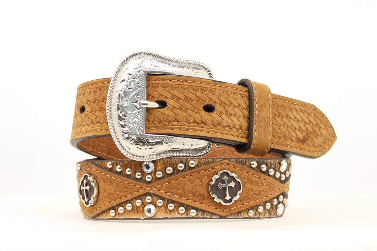Nocona Boys Basketweave Hair Cross Bling Belt