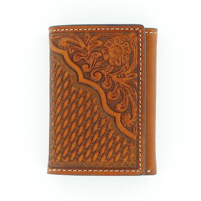 Nocona Pro Tri-fold Basketweave/Floral Tooled Wallet