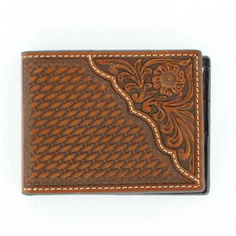 Nocona Pro Bi-fold Basketweave/Floral Tooled Wallet