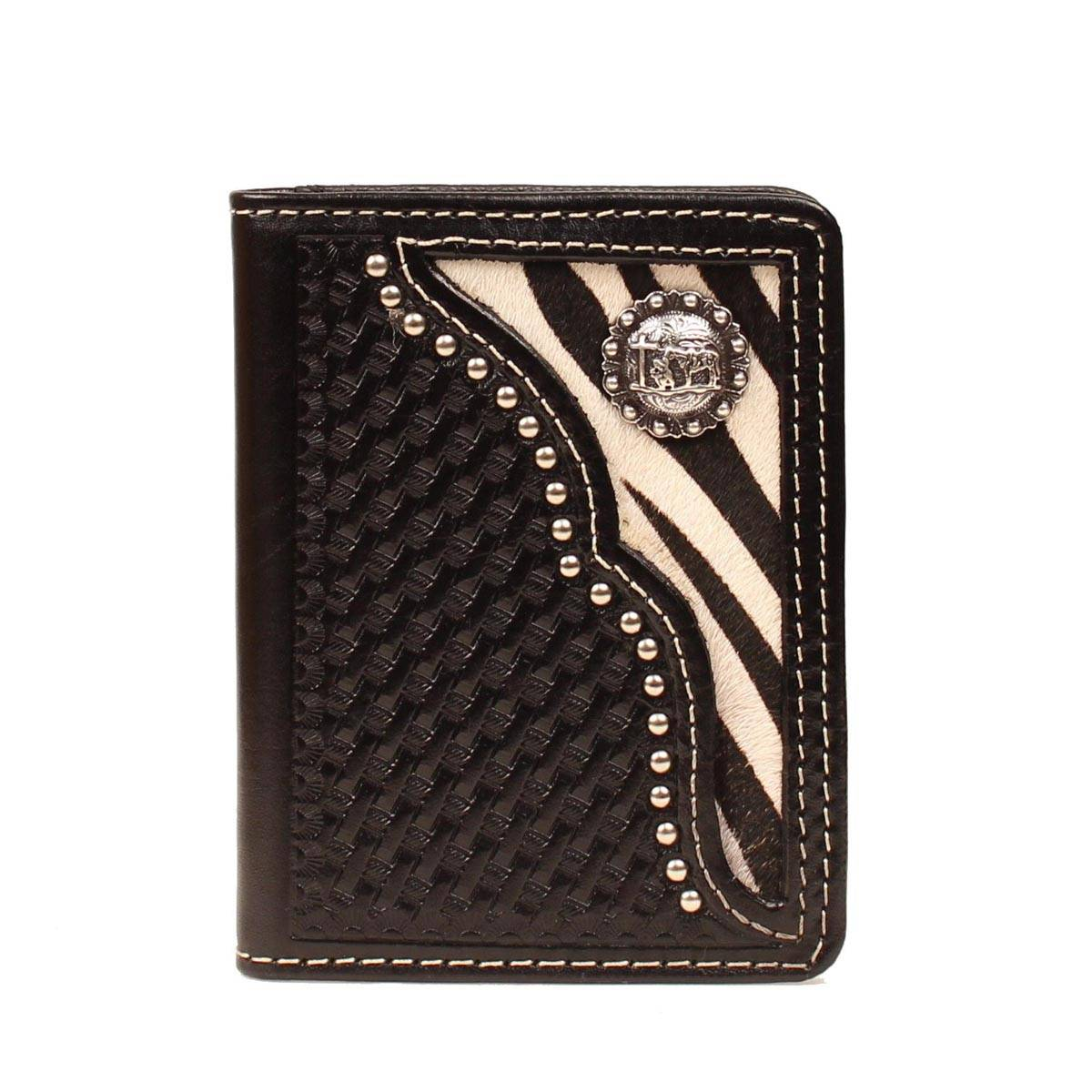 Nocona Mens Bi-fold Flip Case with Zebra and Concho