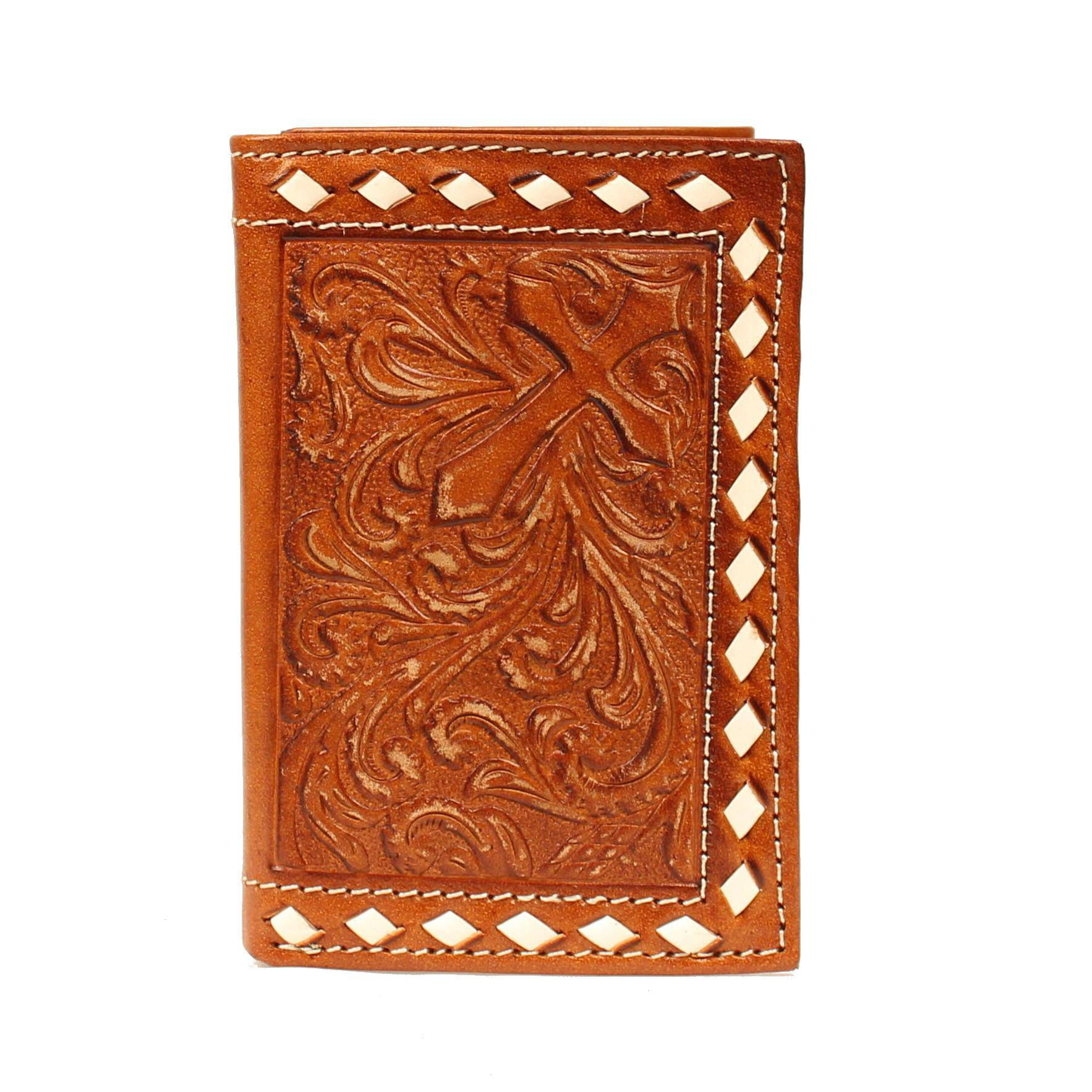 Nocona Tri-fold Buckstitch Edge Cross Wallet