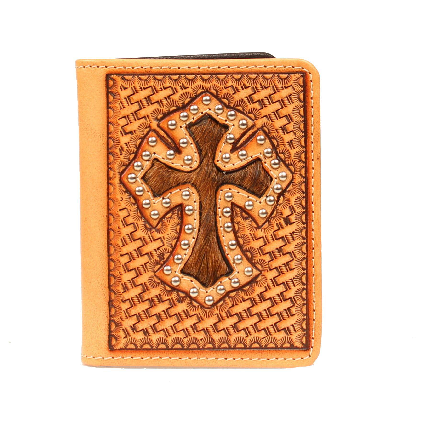 Nocona Bi-fold Basketweave Hair Cross Wallet