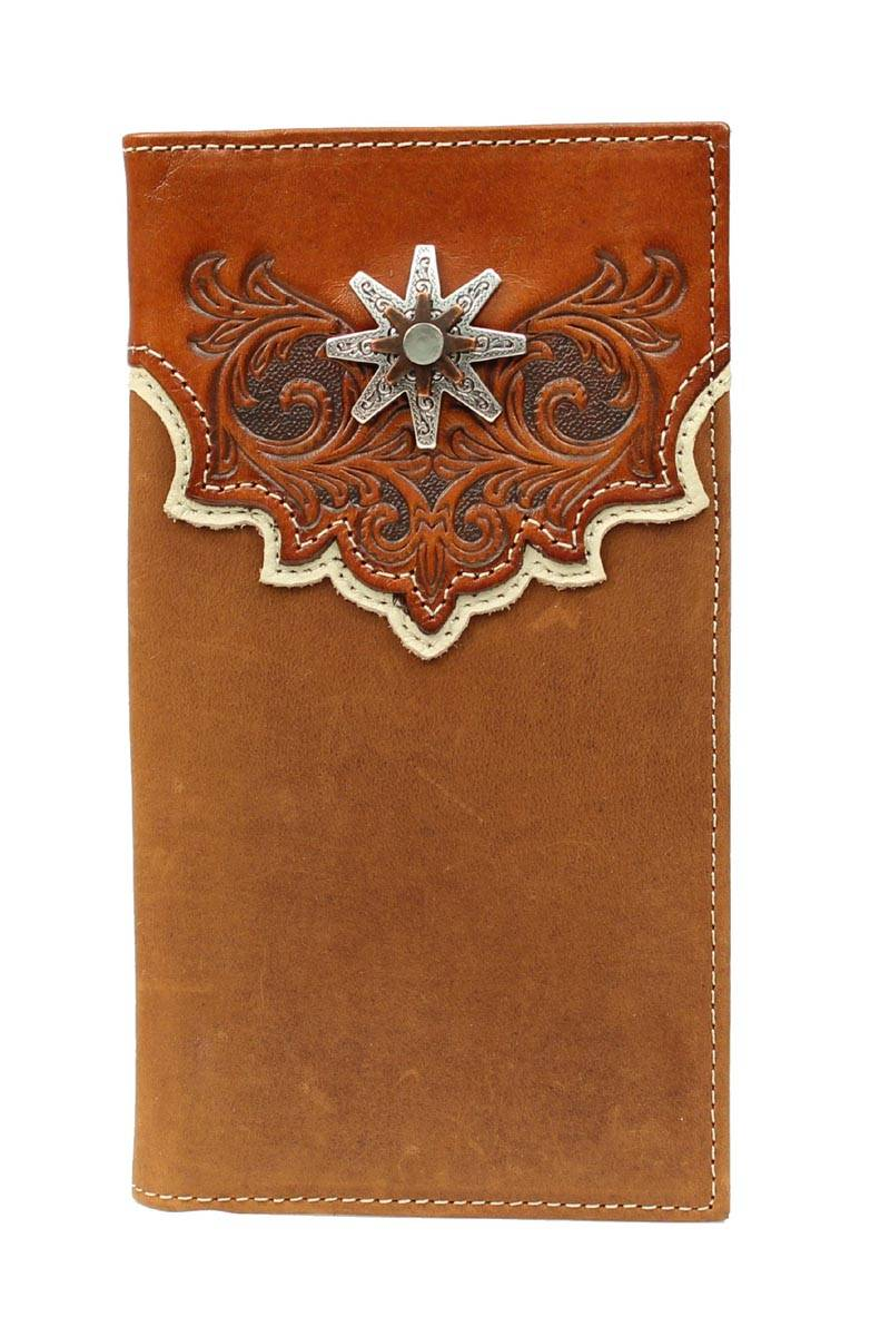 Nocona Rodeo Tooled Overlay Spur Wallet