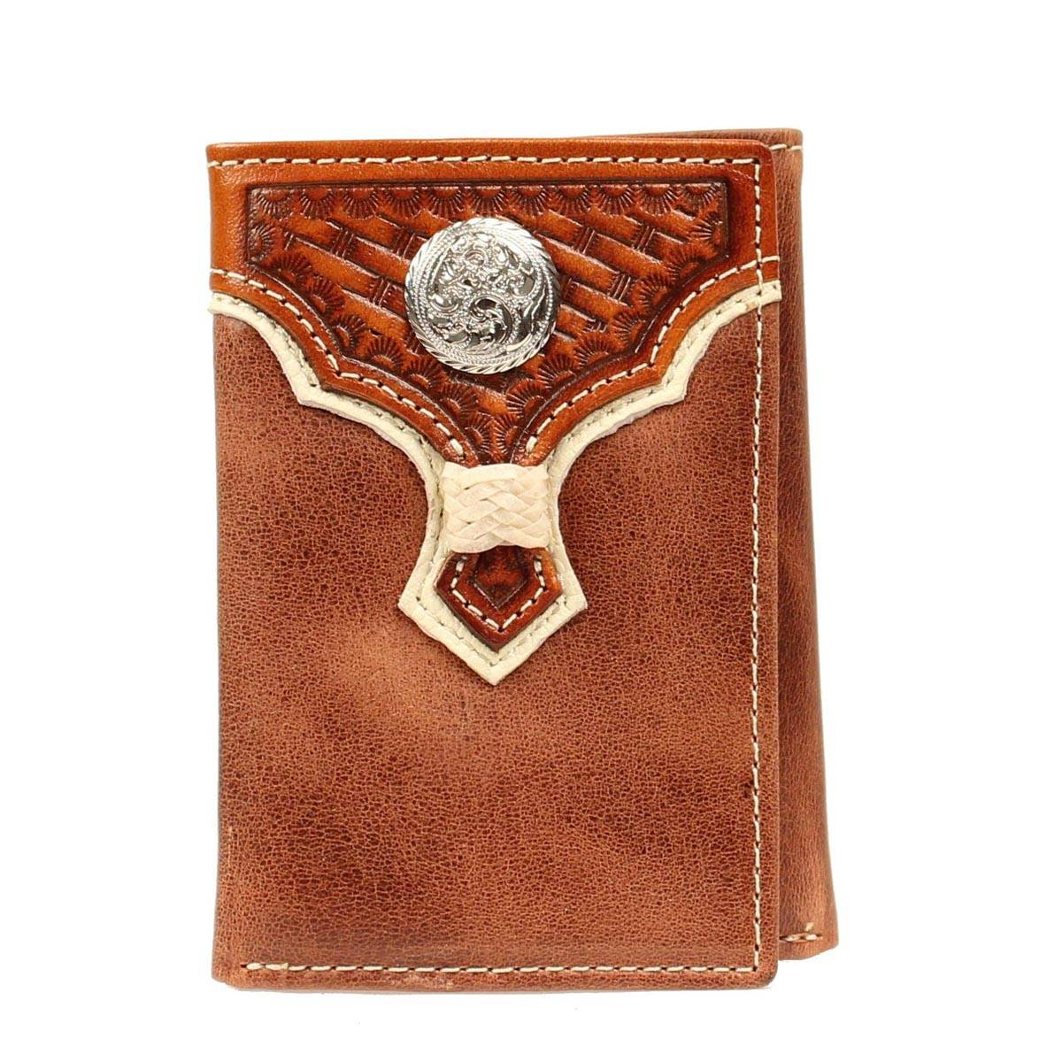 Nocona Trifold Weave Overlay/Concho Wallet