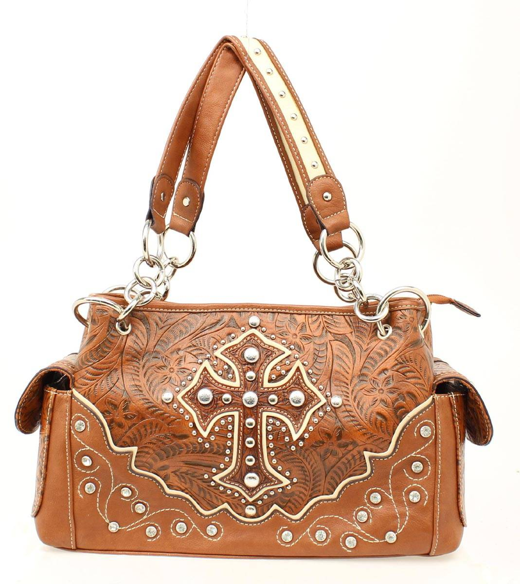 Blazin Roxx Satchel Tooled Cross Overlay