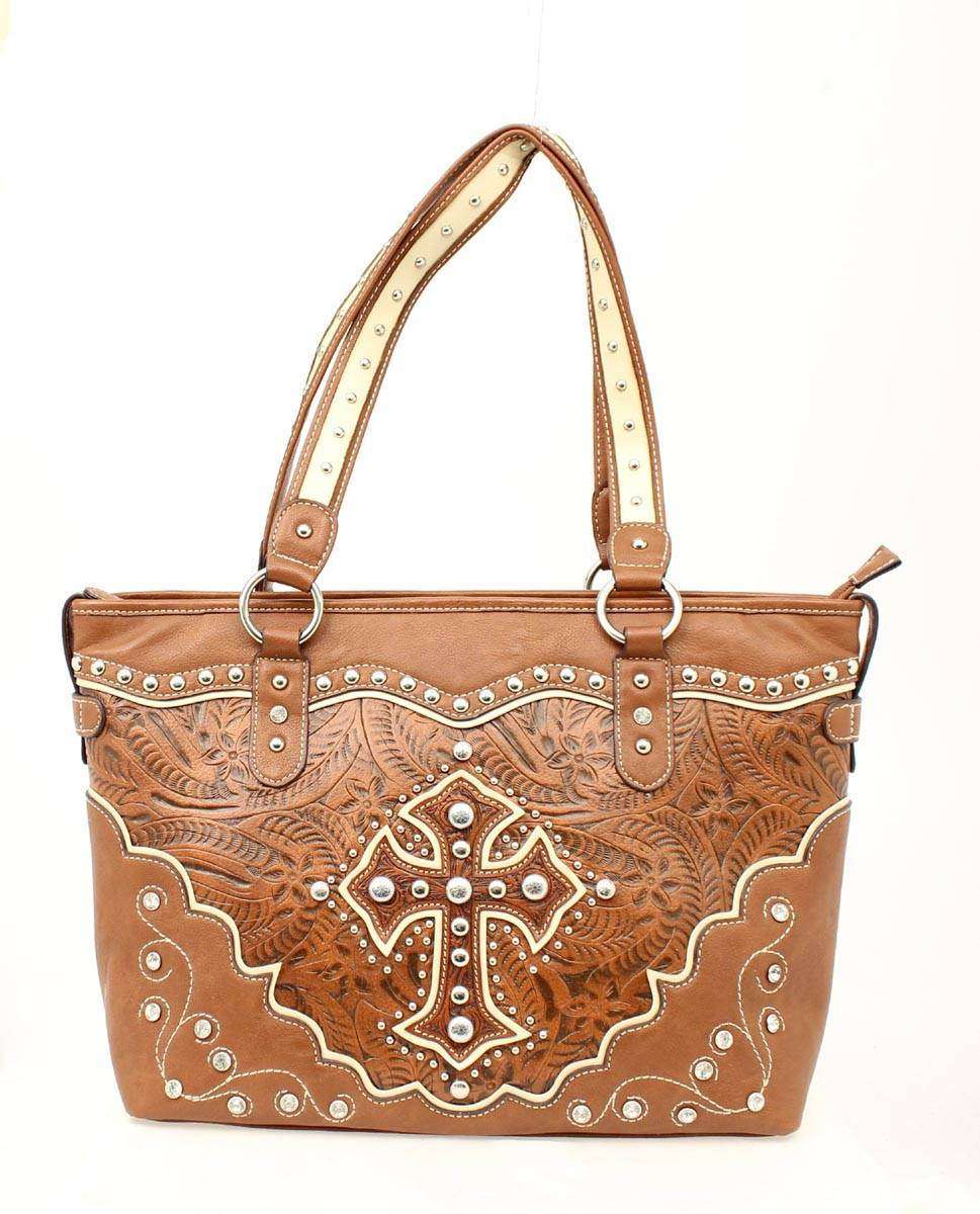 Blazin Roxx Cross Overlay Tooled Tote Handbag