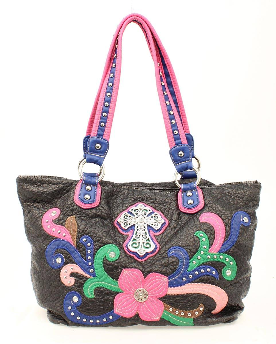 Blazin Roxx Cross Flower Tote Handbag