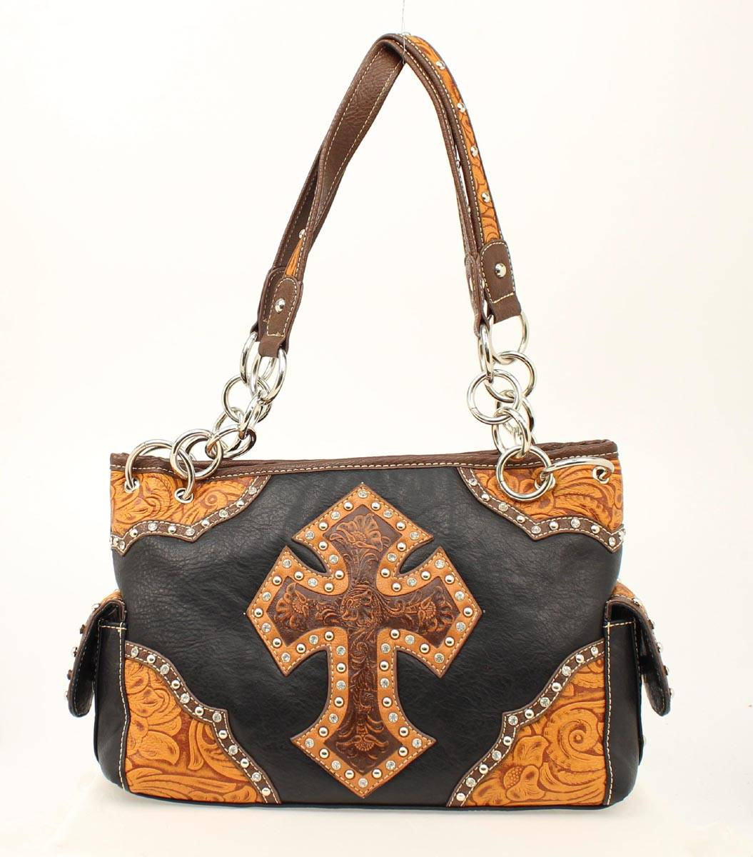 Blazin Roxx Tooled Cross Satchel Handbag