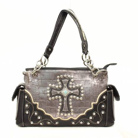 Blazin Roxx Croc Cross Metallic Satchel