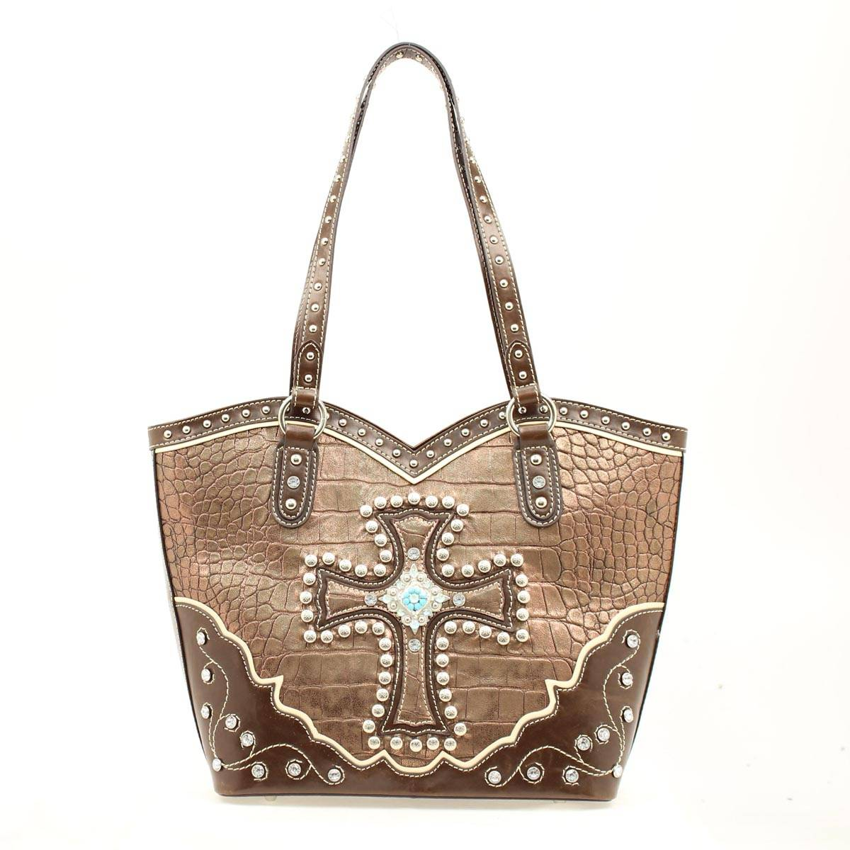 Blazin Roxx Bucket Croc Cross Metallic Handbag