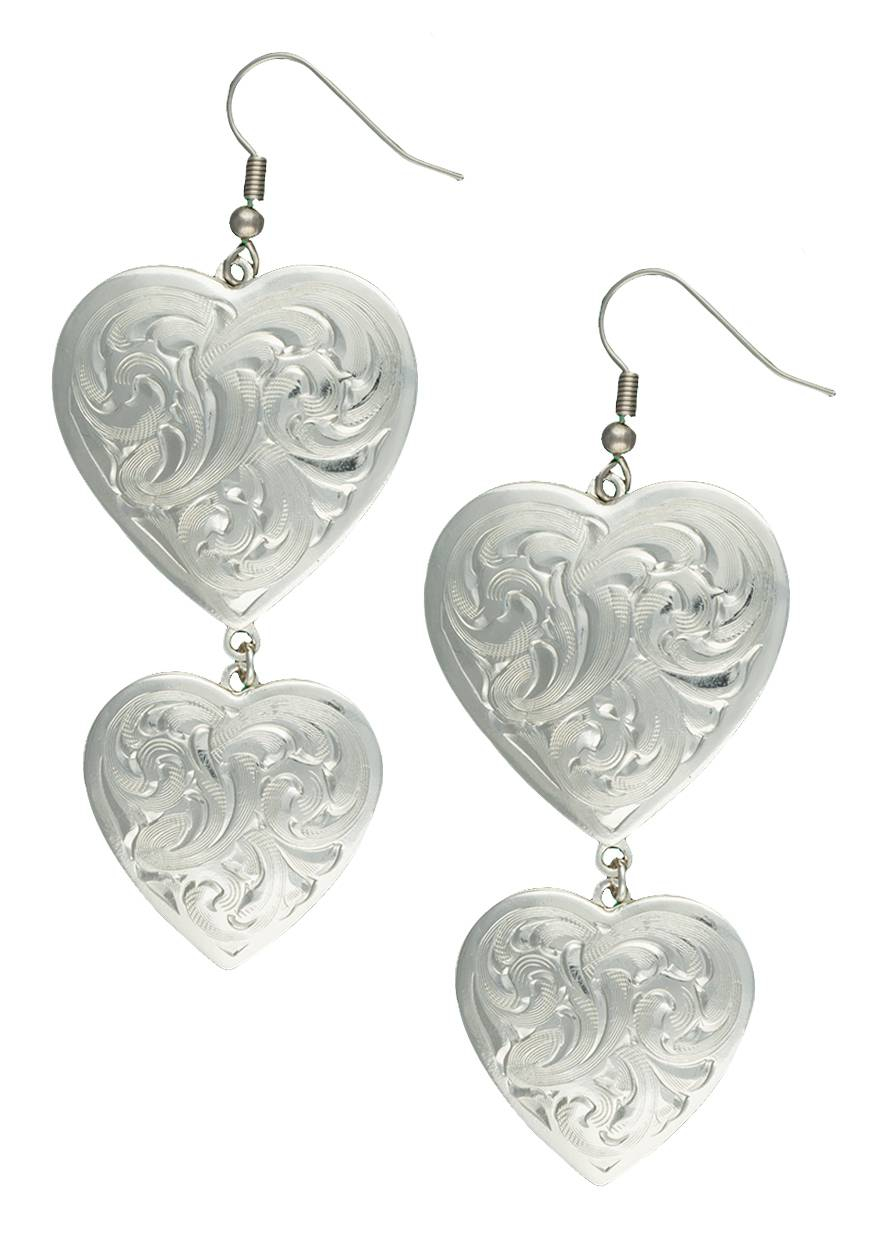 Montana Silversmiths Classic Heart Silver-Tone Concho Earrings
