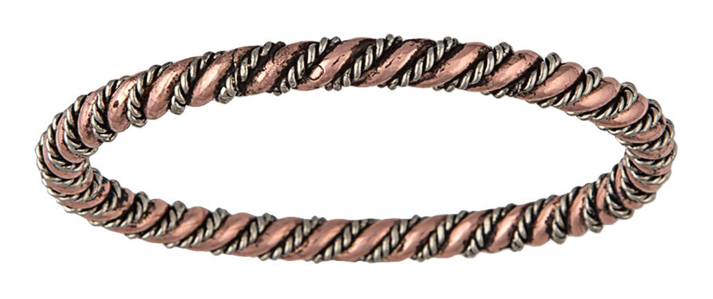 Montana Silversmiths Copper and Silver Toned Rope and Wire Coil Bangle Bracelet