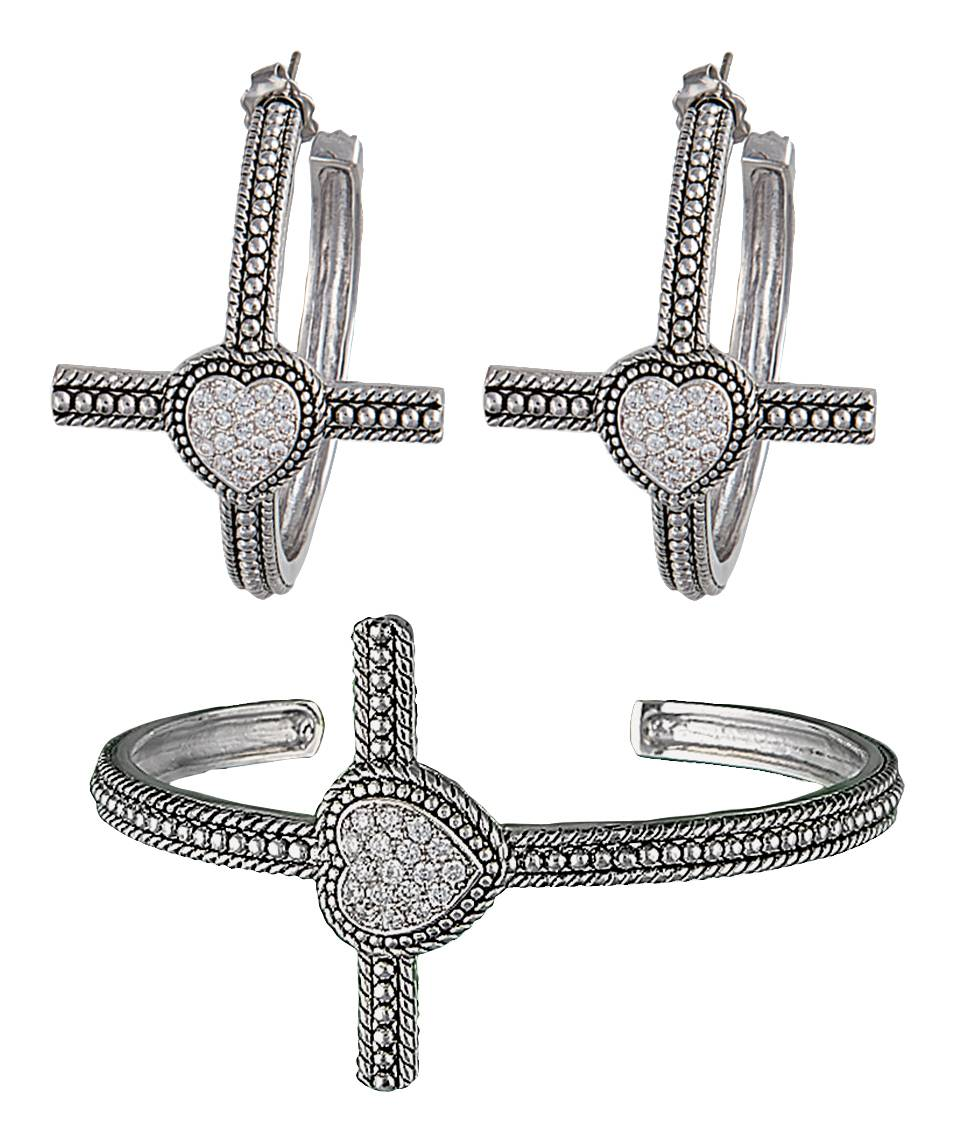 Montana Silversmiths Faith's Heart Cross Bracelet Jewelry Set