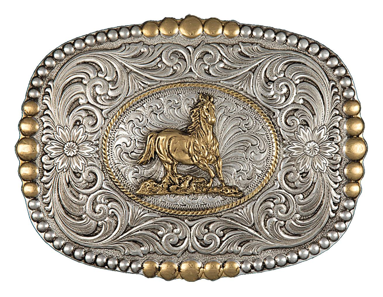 Montana Silversmiths Heirloom Gold Pioneer Portrait Buckle with Galloping Horse