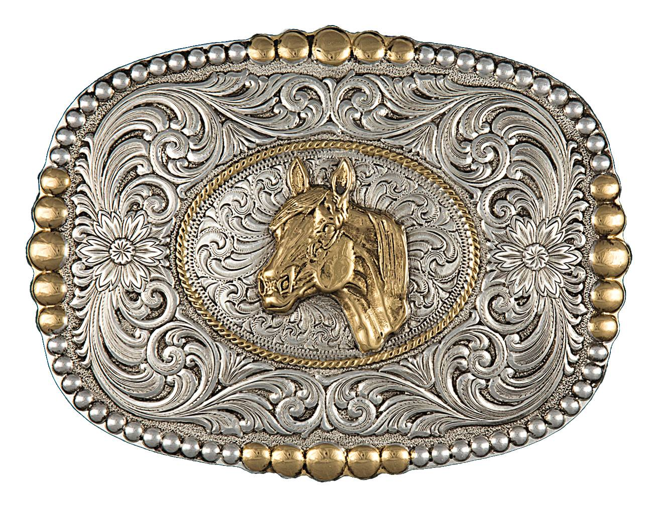 Montana Silversmiths Heirloom Gold Pioneer Portrait Buckle with Horsehead Portrait
