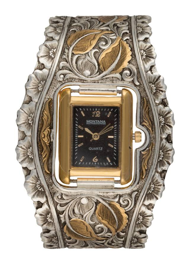 Montana Silversmiths Ladies Heirloom Gold Leaf Cuff Watch