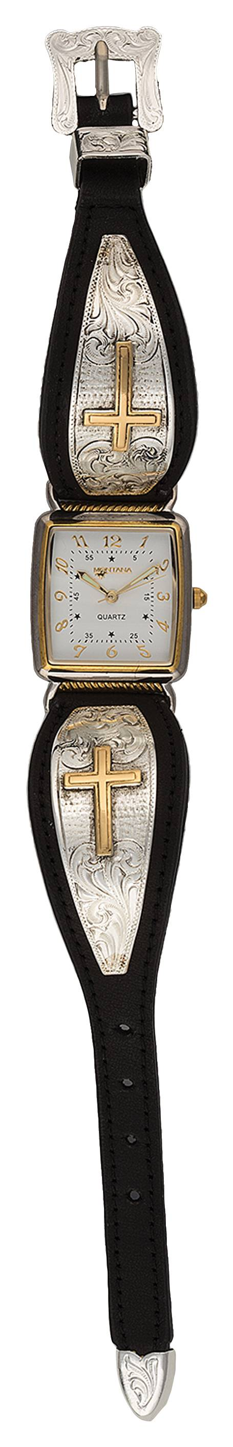 Montana Silversmiths Large Heirloom Gold Engraved Cross on Leather Band Watch