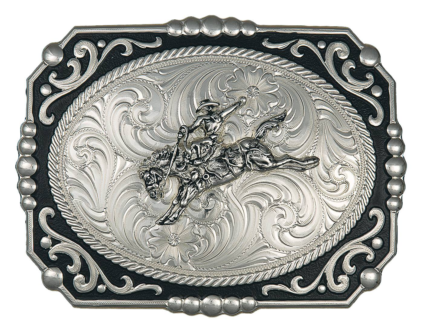 Montana Silversmiths Painted Cowboy Cameo Buckle with Bronc Rider