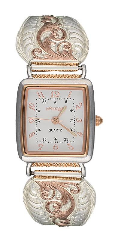 Montana Silversmiths Rose Gold Filigree Ladies Expansion Band Watch