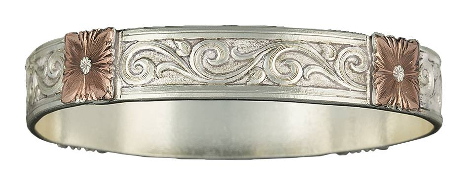 Montana Silversmiths Rose Gold Flowers on the Wind Large Bangle Bracelet