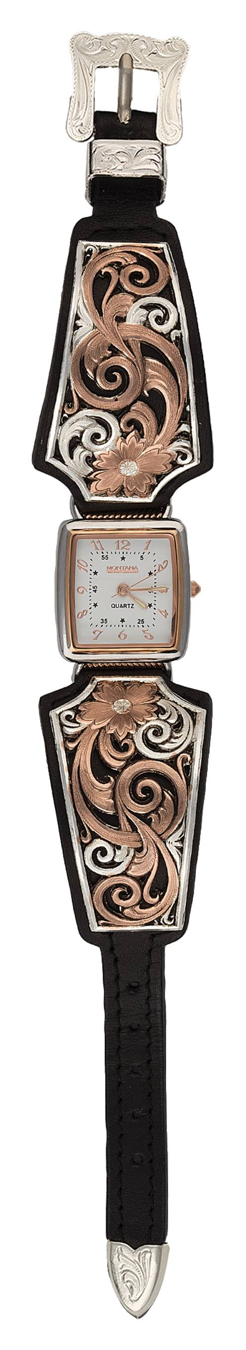 Montana Silversmiths Rose Gold Vintage West Ladies Black Leather Band Watch