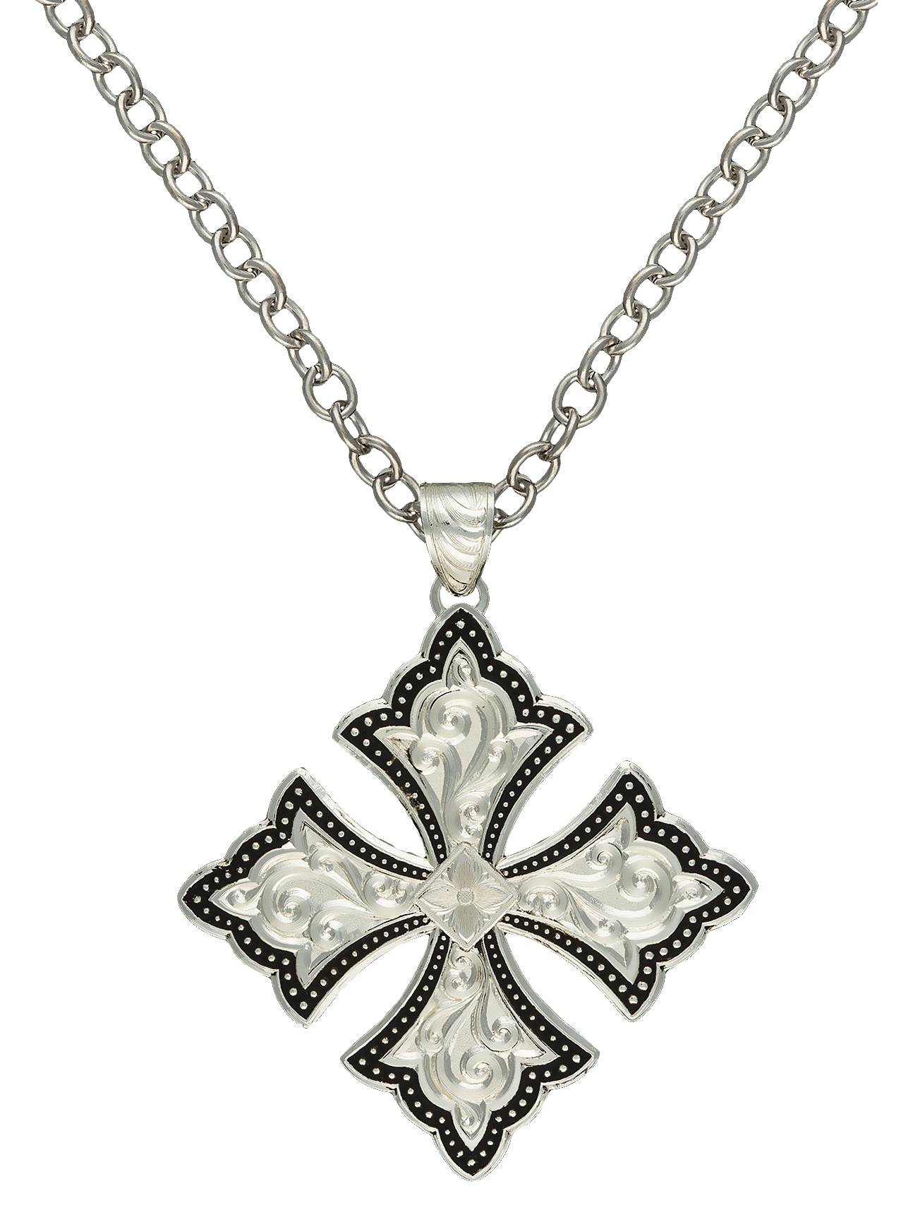 Montana Silversmiths Silver Pinpoints Cross Patonce Necklace