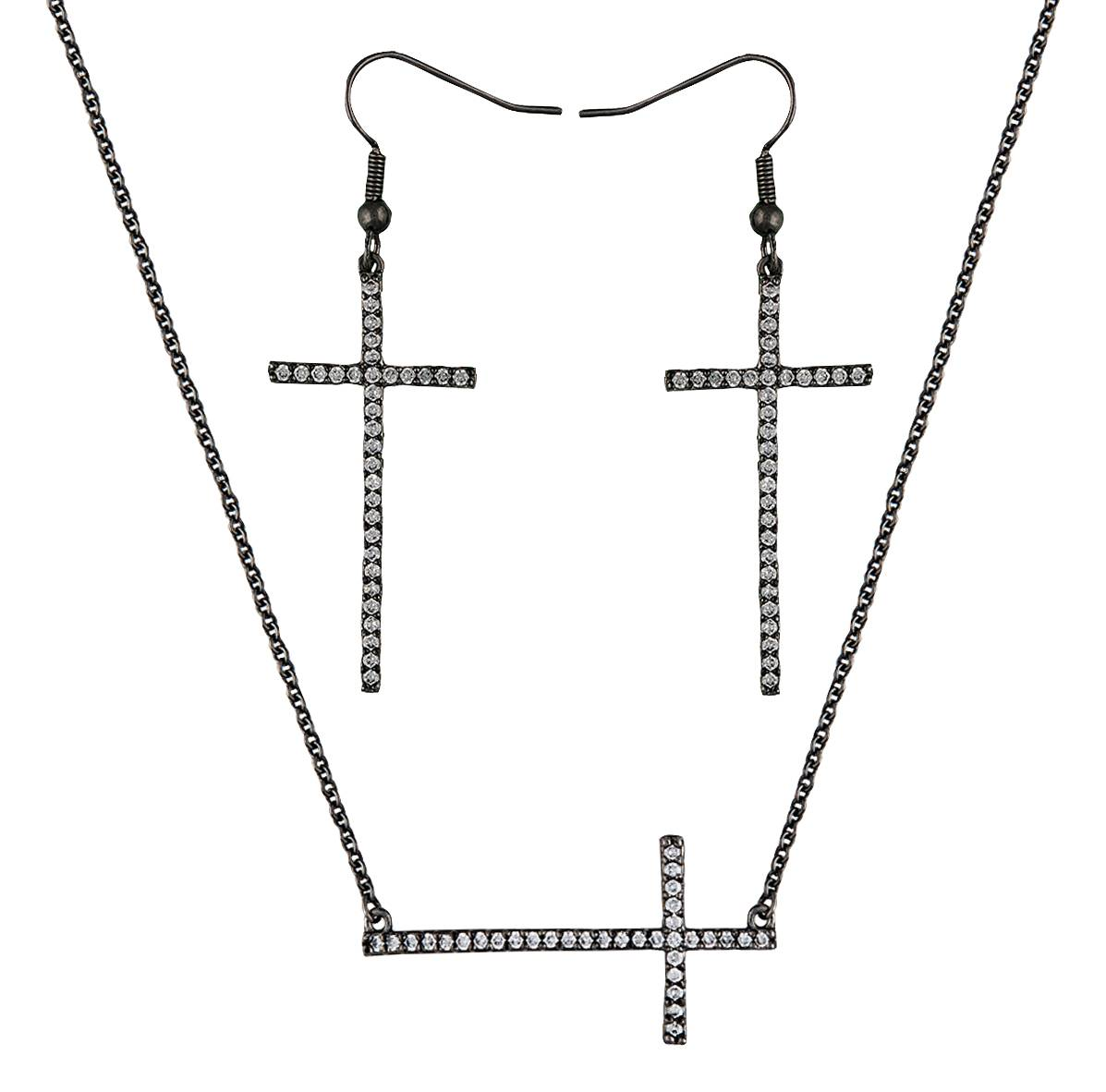 Montana Silversmiths The Straight Path Cross Jewelry Set in Antique